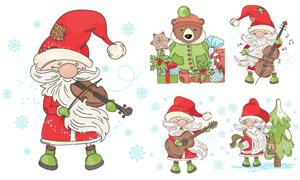 彈著吉他的圣誕老人等插畫矢量素材