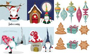 小木屋与圣诞老人插画创意矢量素材