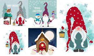 拎着灯的圣诞老人插画创意矢量素材