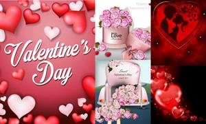 红心与玫瑰花等情人节创意矢量素材