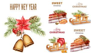 松果樹枝與甜品圣誕襪創意矢量素材