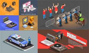 防暴警察与音频设备等创意矢量素材
