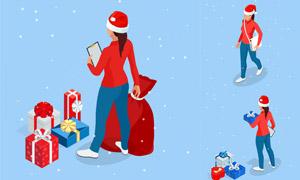 头戴圣诞帽的女子等距视图矢量素材