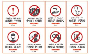 防范新型肺炎48字守則標識設計PSD素材