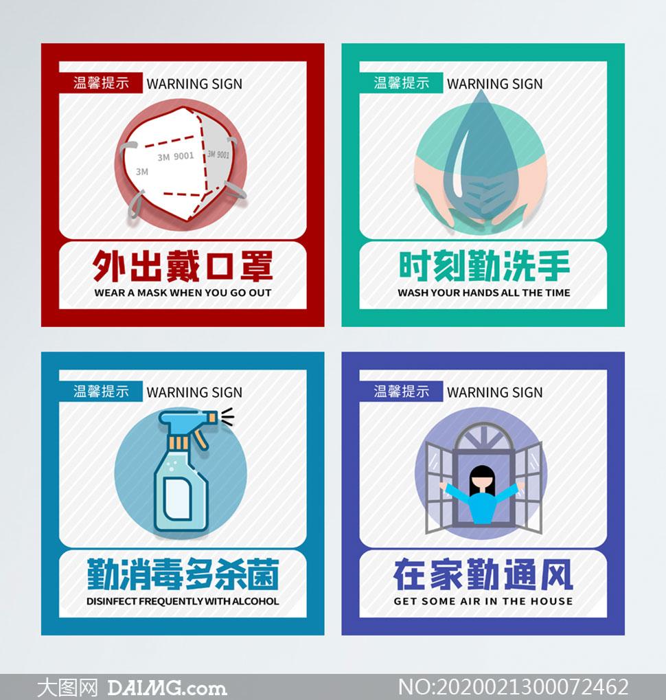 预防新型冠状病毒温馨提示标识PSD素材