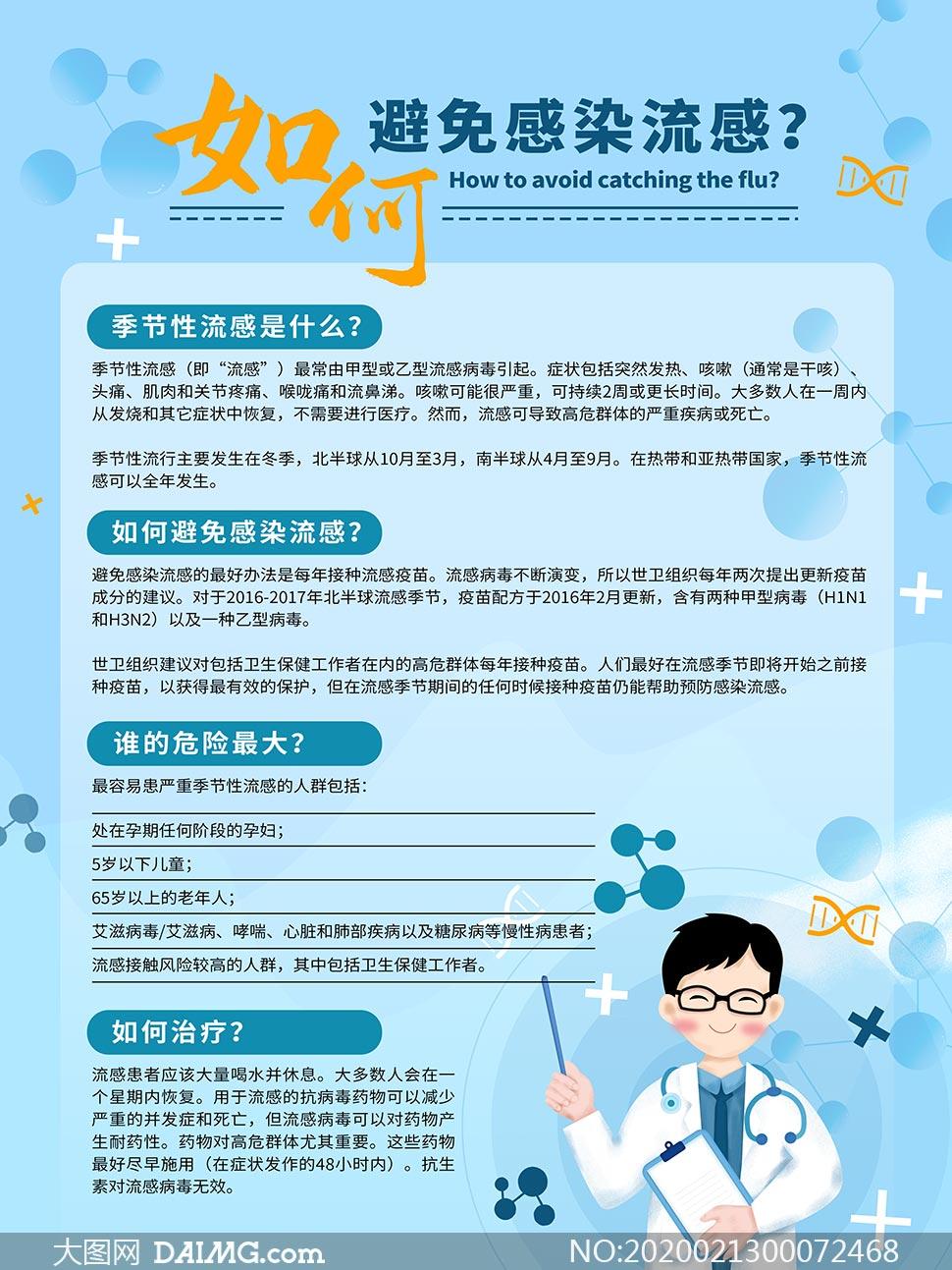 如何避免感染流感宣传海报PSD素材
