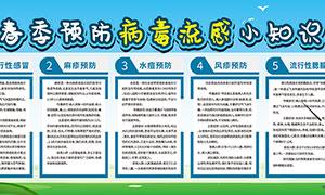 春季预防冰毒流感小知识宣传栏PSD素
