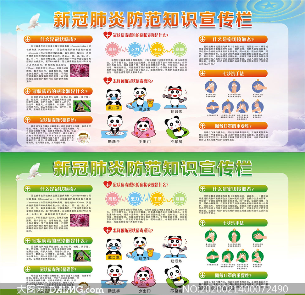 新冠肺炎防范知识宣传栏设计矢量素材