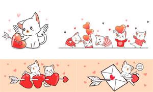 红心图案与卡通猫咪等创意矢量素材