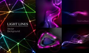 炫丽星光线条抽象创意背景矢量素材