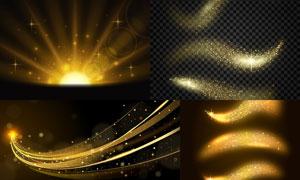 金色星光与线条等元素背景矢量素材