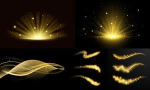 金色星光与光芒四射的效果矢量素材