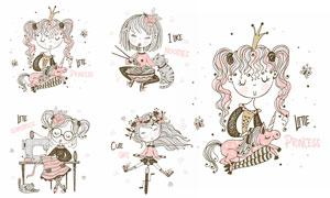 独角兽猫咪与可爱女孩插画矢量素材
