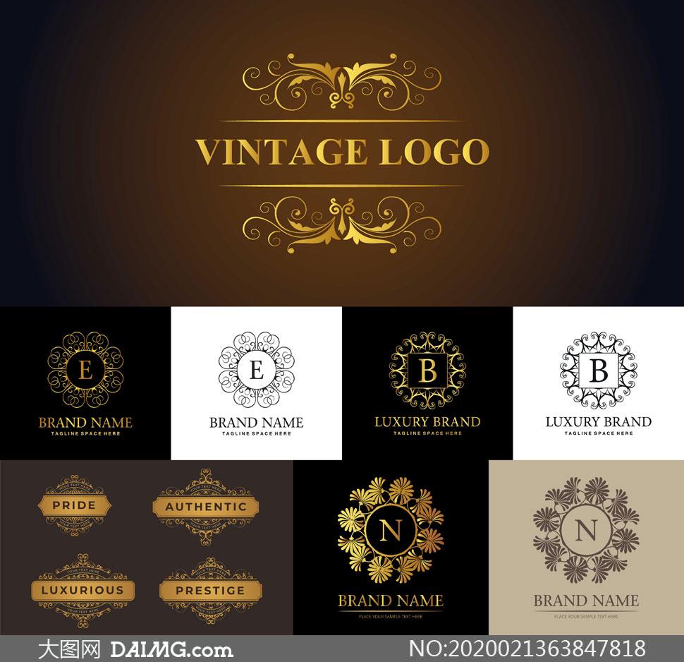 金色与黑白复古风花纹标签矢量素材