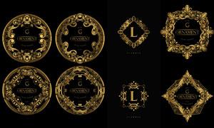 金色豪华欧式花纹装饰边框矢量素材