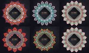 中心對稱花紋裝飾圖案主題矢量素材