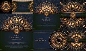 金色與深藍色搭配花紋圖案矢量素材
