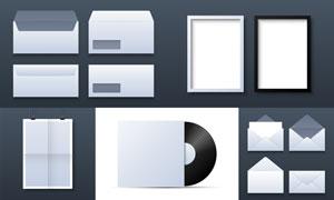光盤封套與信封畫框等元素矢量素材