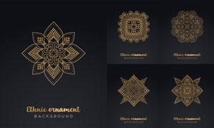 異域風情幾何花紋裝飾圖案矢量素材