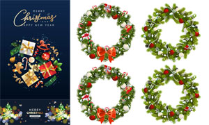 光斑元素與樹枝邊框等圣誕矢量素材