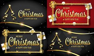 禮物盒與金色線條邊框圣誕矢量素材