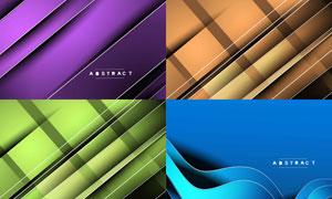 不同配色曲线元素抽象背景矢量素材