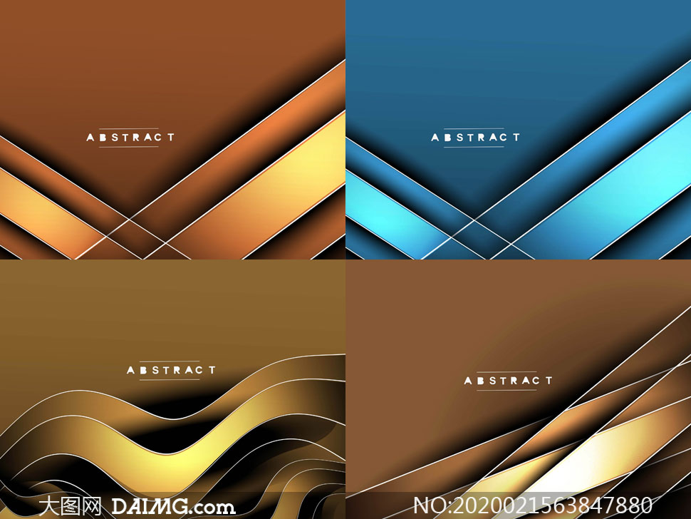 棕色与蓝色的曲线元素背景矢量素材