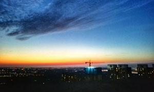 傍晚美麗的的武漢金銀湖攝影圖片