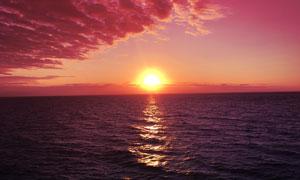 海上美丽的落日美景高清摄影图片