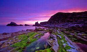 傍晚海邊美麗景觀高清攝影圖片