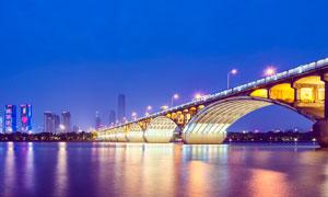 橘子洲大桥美丽夜景高清摄影图片