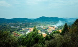 武漢靈泉寺俯瞰圖高清攝影圖片