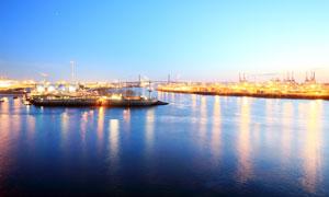 德国汉堡港美丽夜景摄影图片