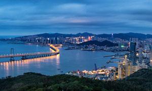 大連星海灣大橋美麗夜景全景圖攝影圖片