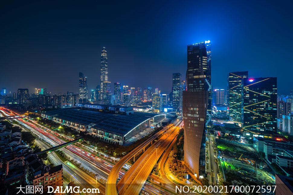 深圳平安大廈美麗夜景攝影圖片