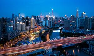 上海城市高架橋美麗風光攝影圖片