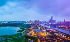 武漢漢陽月湖風景區美麗夜景攝影圖片