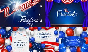 美国国旗与气球飘带等创意矢量素材