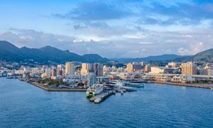 日本长崎佐世保市海港航拍摄影图片
