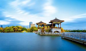 西湖九曲石橋美景攝影圖片