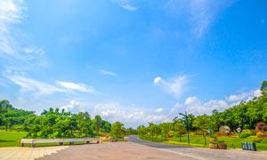 蓝天下的南宁园博园摄影图片