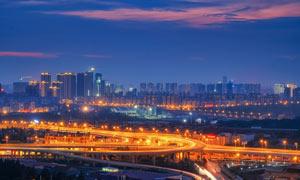 武漢中央商務區美麗夜景攝影圖片