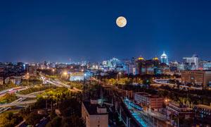 北京東便門中秋節美景攝影圖片