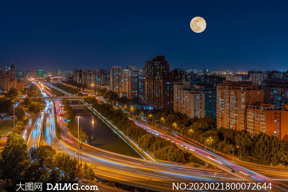 北京光明橋美麗夜景高清攝影圖片