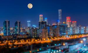 北京國貿大廈中秋節夜景攝影圖片