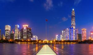 香港维多利亚港夜色全景摄影图片