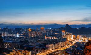 桂林臨桂區老城區美麗夜景攝影圖片
