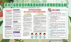幼兒園疫情防控指南宣傳欄設計矢量素材