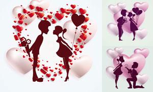 心形图案与情侣人物剪影等矢量素材