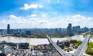 藍天下的寧波市區全景攝影圖片